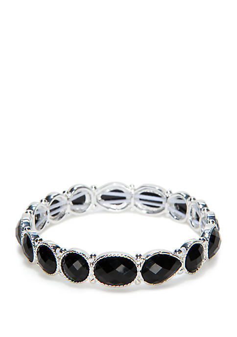 Silver Tone Stone Stretch Bracelet