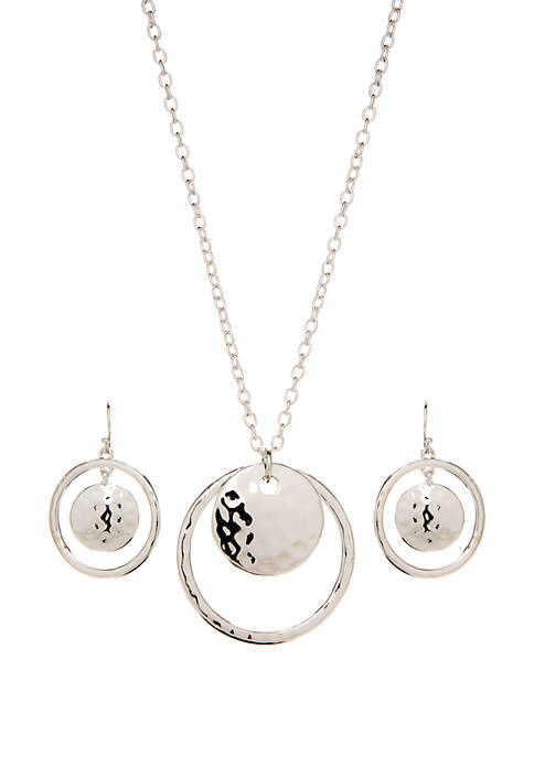Boxed Hammered Orbital Drop Necklace and Earring Set