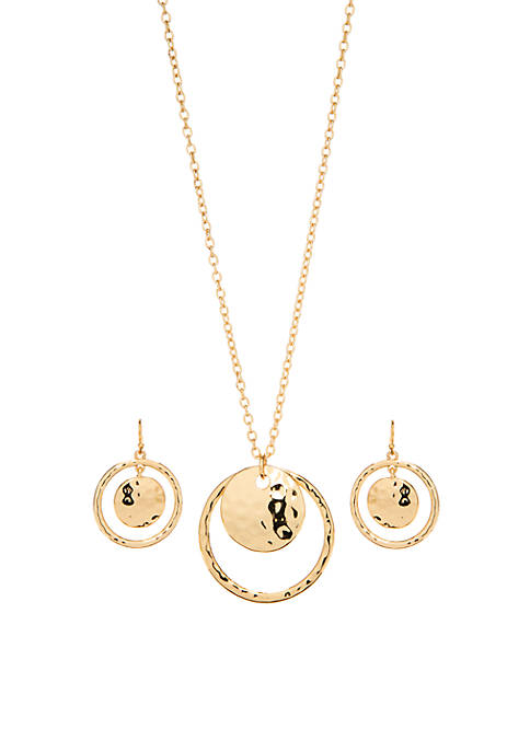 Kim Rogers® Hammered Gold Drop Earrings and Necklace