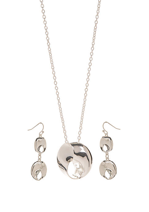 Silver Tone Inverted Pendant Drop Earring and Necklace Set