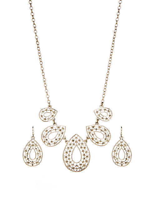 Silver Lace Frontal Drop Earring and Necklace Set
