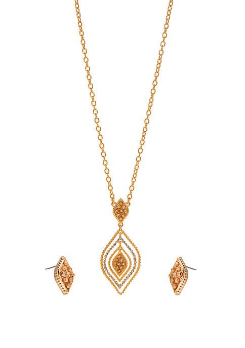 Kim Rogers® Gold Tone 3 Piece Navette Pendant
