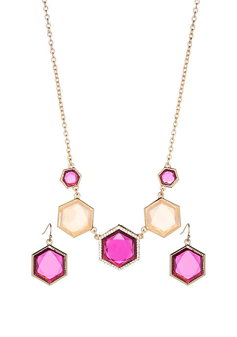 Boxed Multi-Hued Hexagon Frontal Necklace and Earrings Set