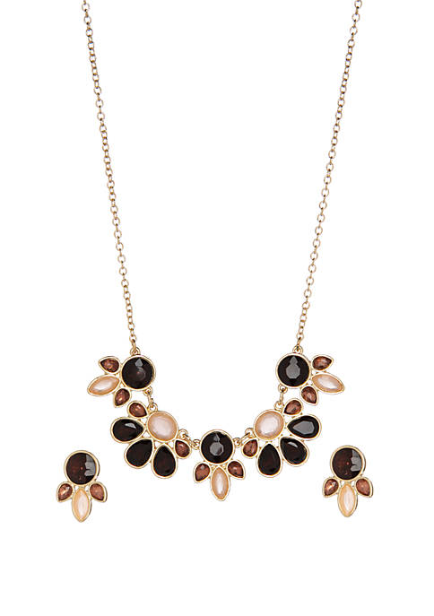 Kim Rogers® Boxed Burgundy Cluster Frontal Necklace and