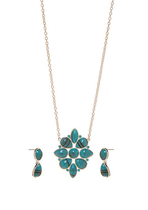 Kim Rogers® Silver Tone Turquoise Flower Pendant Drop