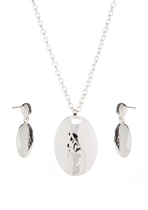 Oval Pendant and Double Drop Earrings Box Set
