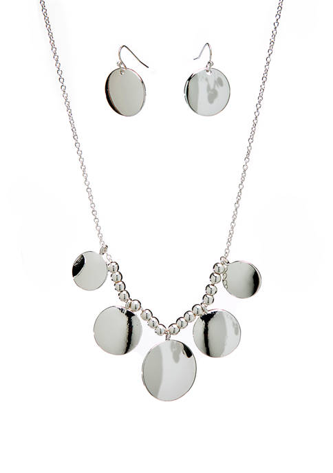 Silver Tone Round Frontal Necklace and Drop Earring Set