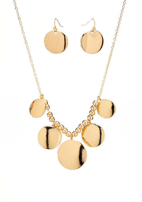 Gold Tone Round Frontal Necklace and Drop Earring Set