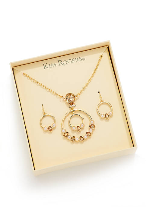 Kim Rogers® Boxed Gold-tone Topaz Color Pendant and