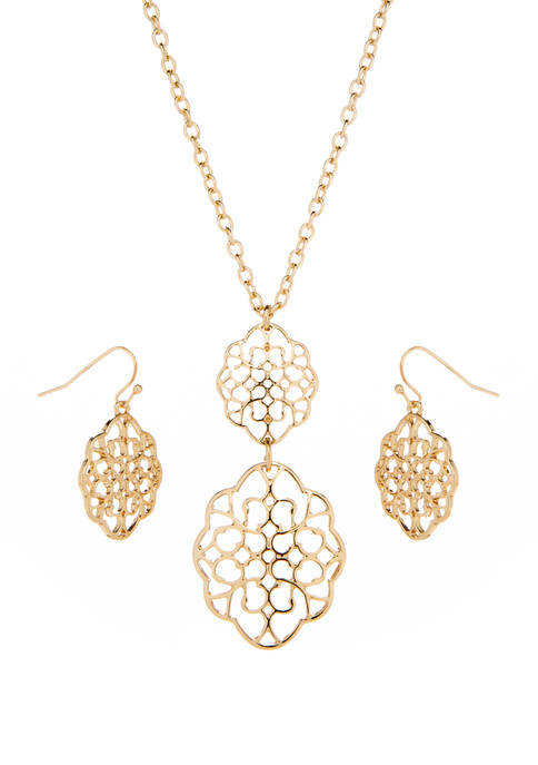 Filigree Double Pendant and Double Drop Gold Earrings