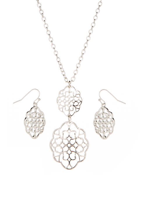 Kim Rogers® Filigree Double Pendant and Double Drop