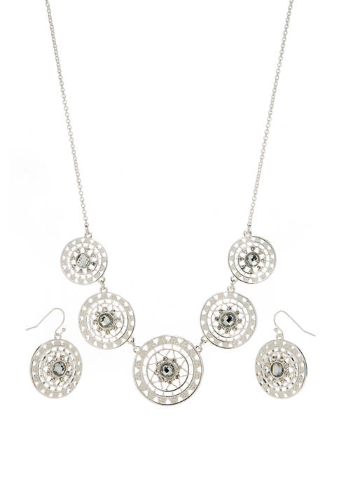16 Inch 2 Piece Silver Tone Round Drop Earrings and Necklace Set