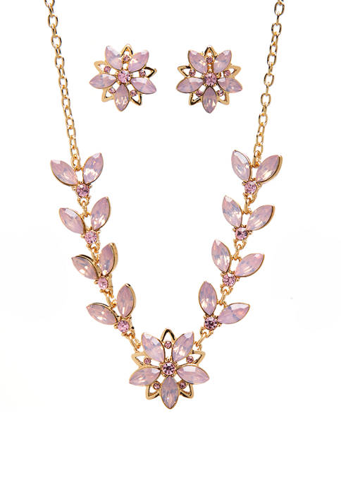 Gold Tone Flower Frontal Necklace and Earringt Set