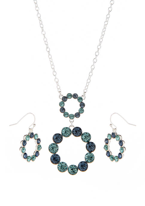 16 Inch Circle Stone Pendant Drop necklace Box Set