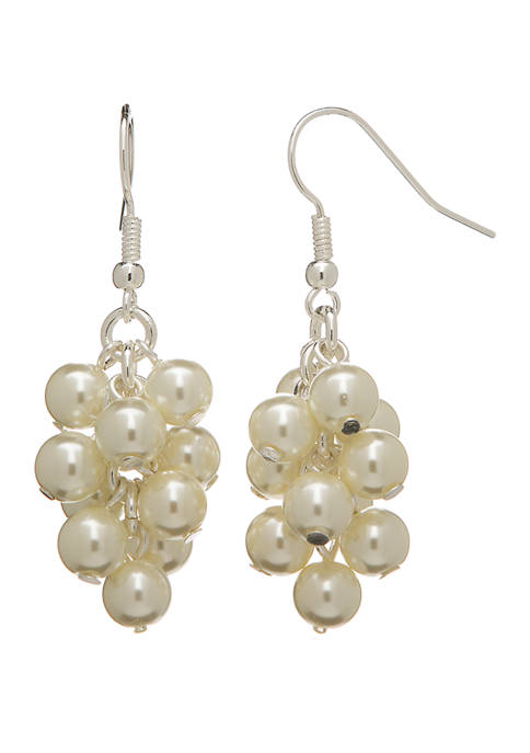 Kim Rogers® Silver Tone Pearl Cascade Drop Earrings