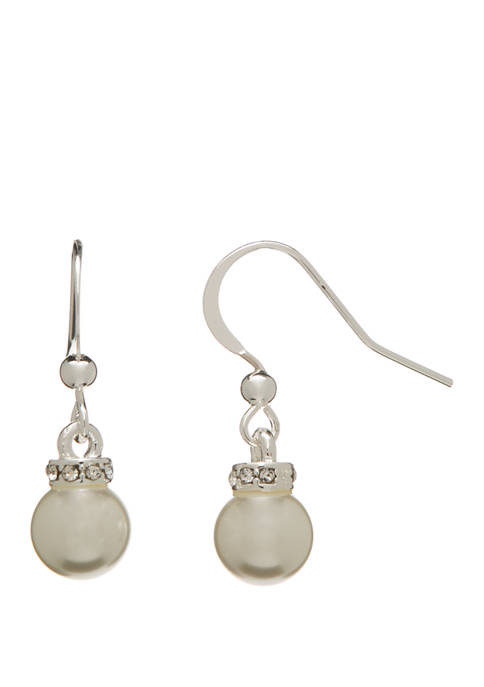 Silver Tone Drop Earrings with Pearls