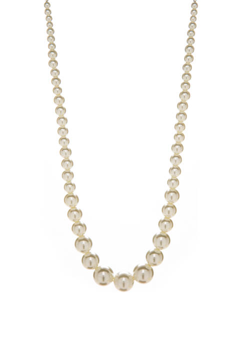 16 Inch White Pearl Gradient Necklace