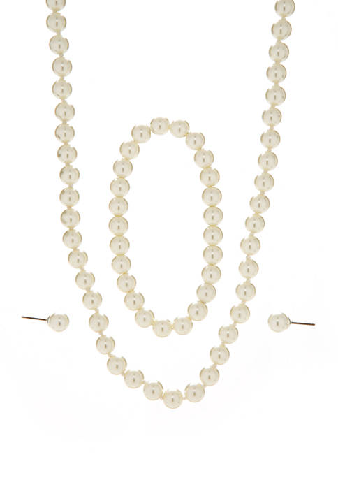 3 Piece Pearl Necklace, Earrings and Bracelet Set