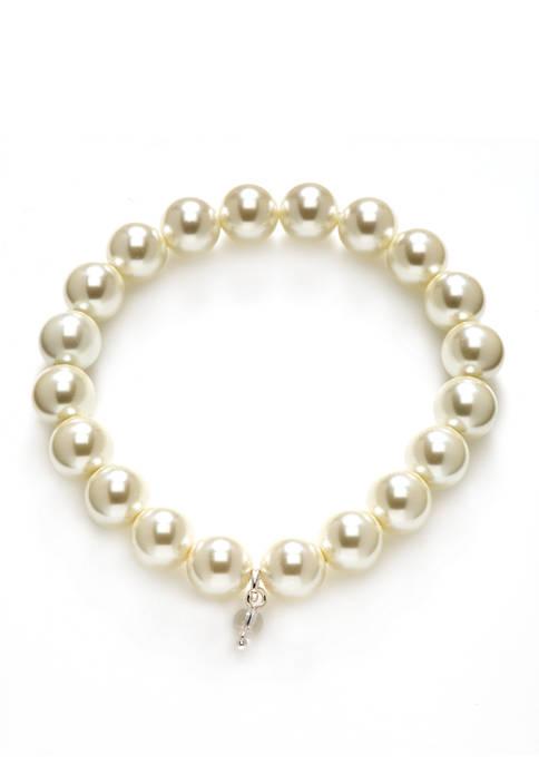 10 Millimeter White Pearl Stretch Bracelet
