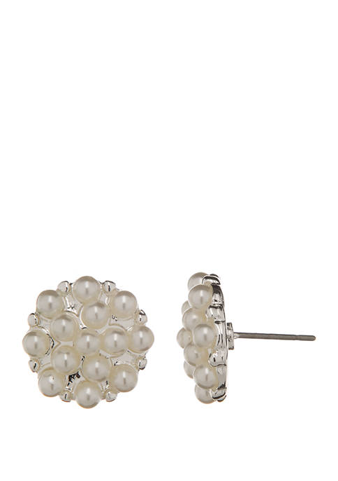 Pearl Cluster Button Earrings