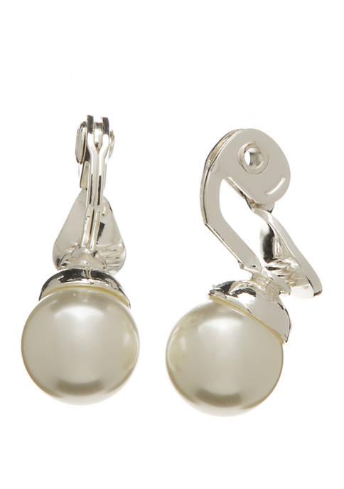 Kim Rogers® Silver Tone Pearl Ball Clip Earrings