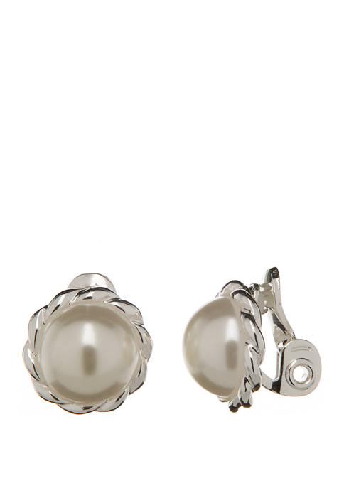 Silver Tone Pearl Button Clip Earrings