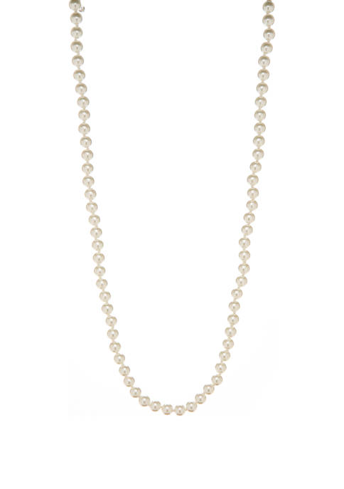 8 Millimeter White Pearl Silver Tone Necklace