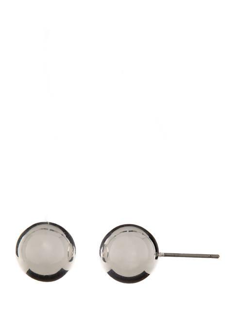 Silver Tone Ball Stud Earrings