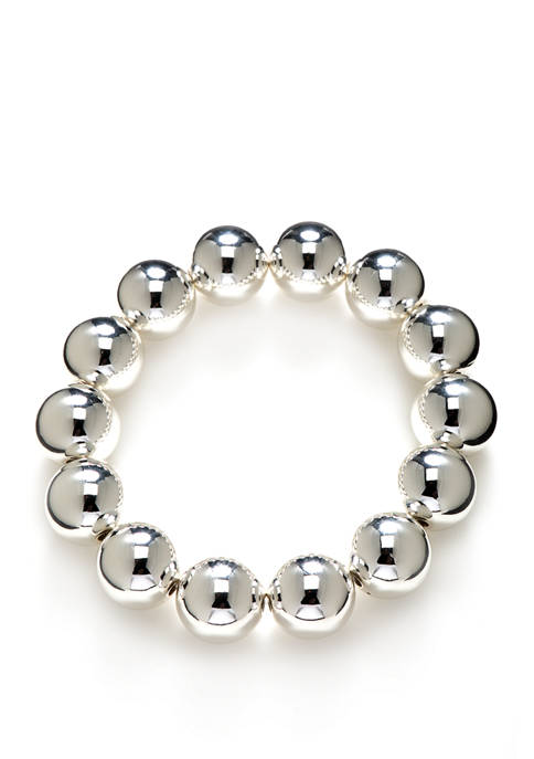 Kim Rogers® Silver Tone Beaded Stretch Bracelet