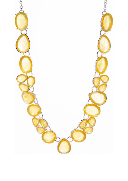 16 Inch Multi Stone Collar Necklace