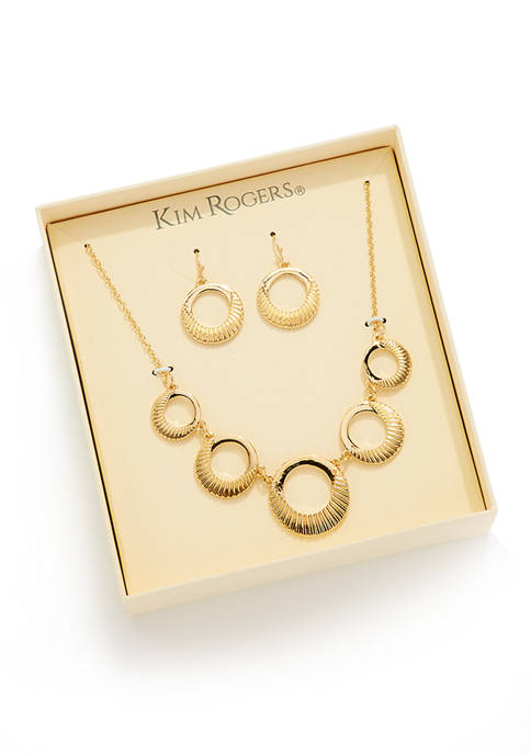 Boxed Gold-Tone Frontal Necklace and Earring Set