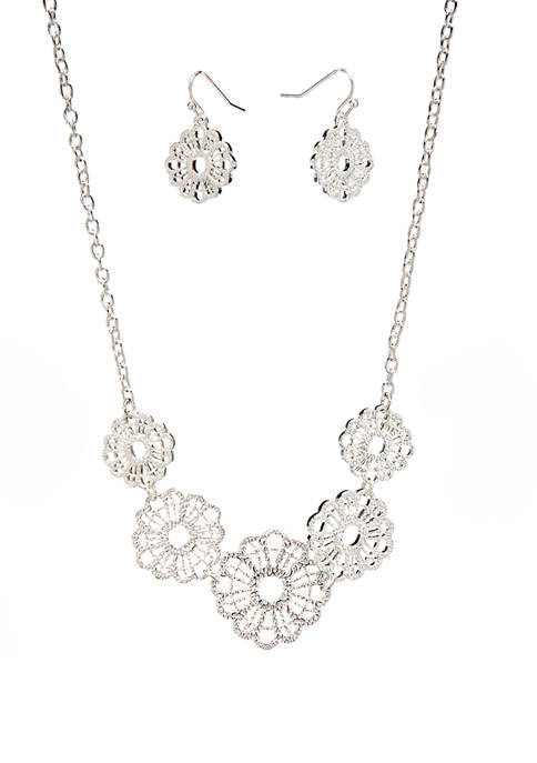 Silver Tone Openwork Drop Necklace and Earring Set