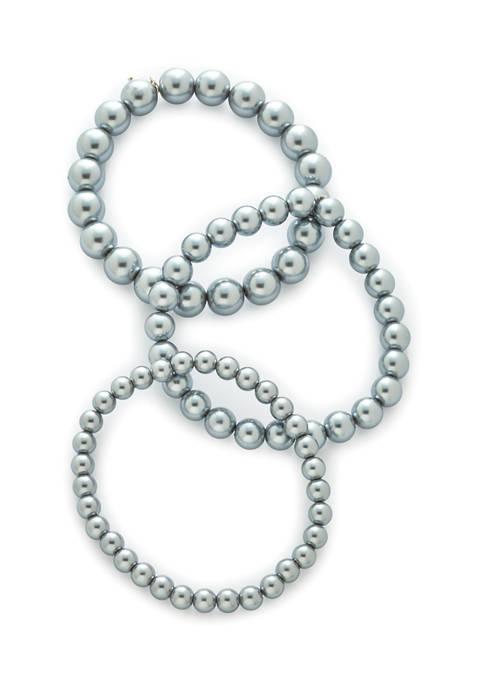 Stretch Gray Pearl Bracelet Set