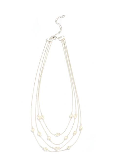 18 Inch Multi Row Silver Pearl Necklace