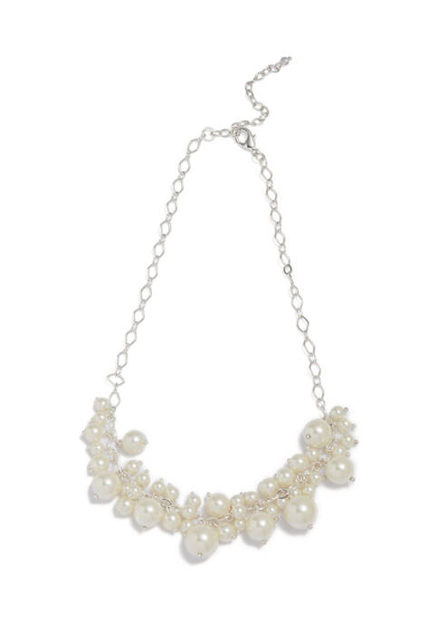 Pearl Link Cluster Necklace