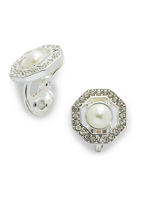 Crystal  Pave Silver Pearl Button Earrings