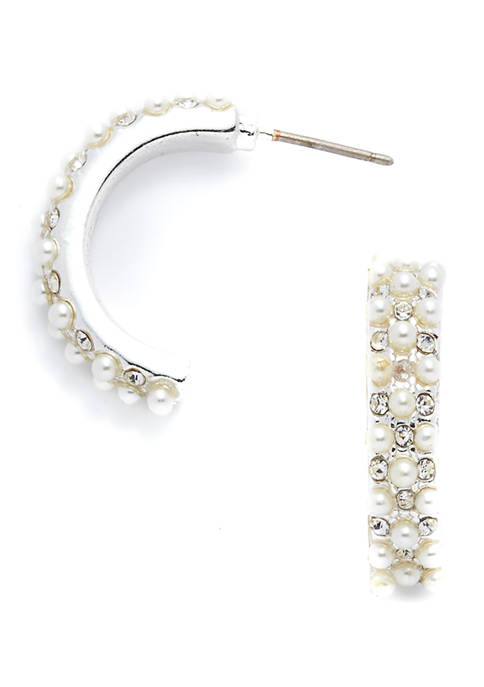 Silver-Tone White Pearl Cluster C Hoop Earrings