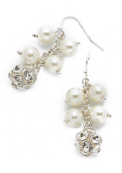 Cluster Pearl Drop Earrings