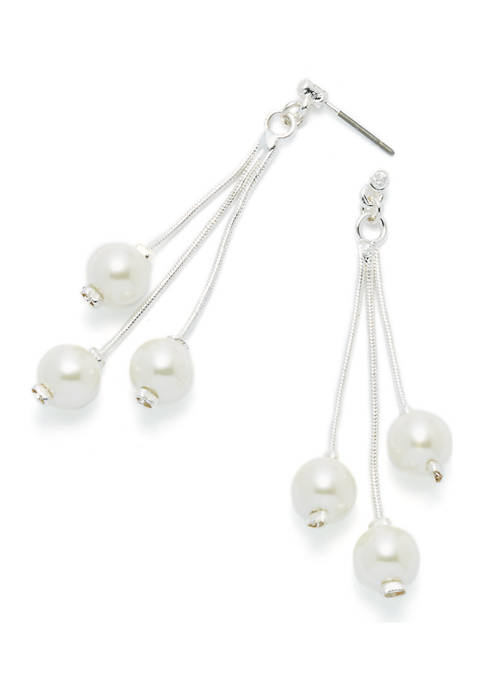 Snake Chain Pearl Drop Earrings