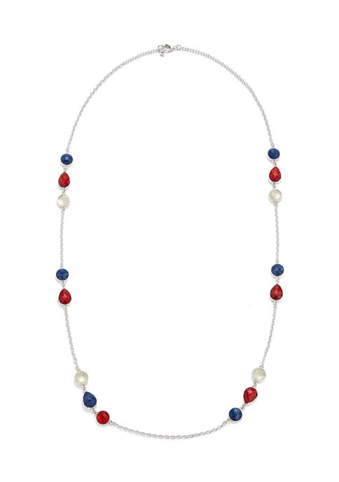 Red, White and Blue Bead Station Strand Necklace