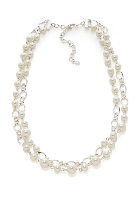 16 Inch 2 Row Pearl Collar Necklace