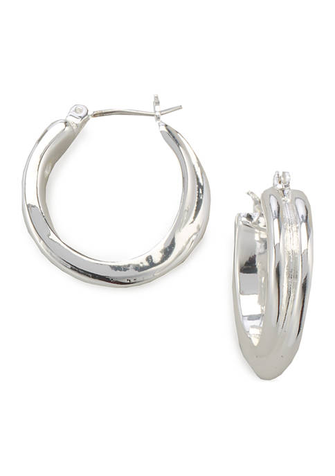 Kim Rogers® Silver Tone Small Click It Hoop