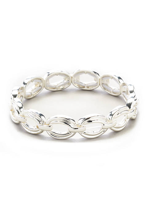 Silver Tone Link Stretch Bracelet