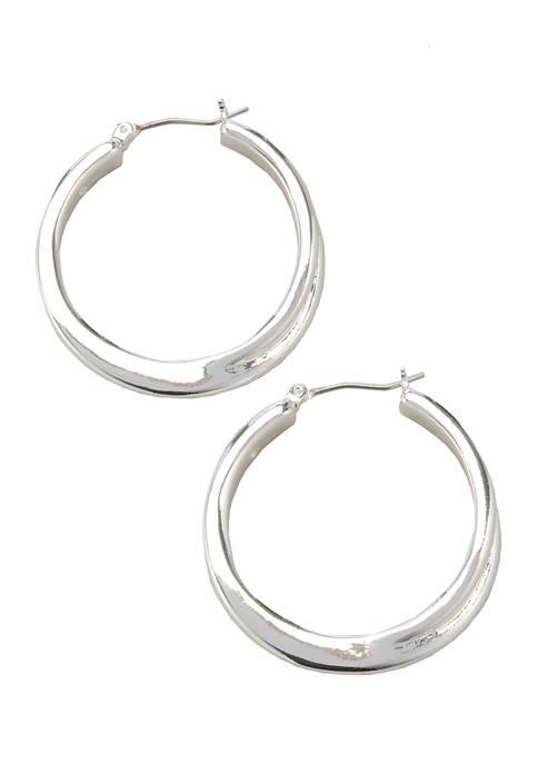 Kim Rogers® Silver Tone Click It Hoop Earrings