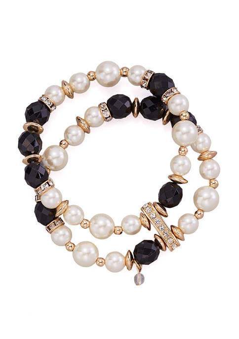 Kim Rogers® Gold Tone Jet and Pearl 2