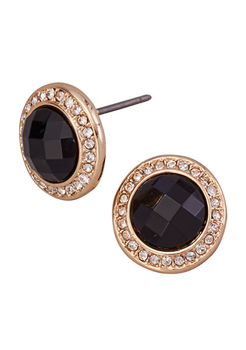Gold Tone Jet and Crystal Faceted Button Post Earrings