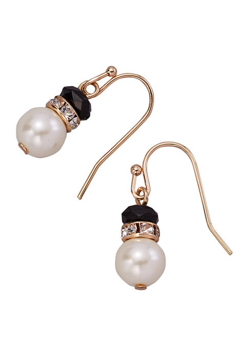 Gold Tone Pearl and Crystal Jet Double Drop Earrings
