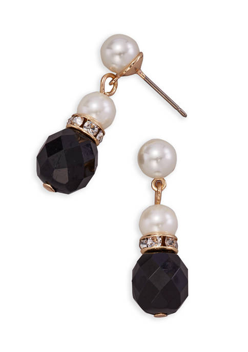 Kim Rogers® Gold Tone Jet and Crystal Pearl