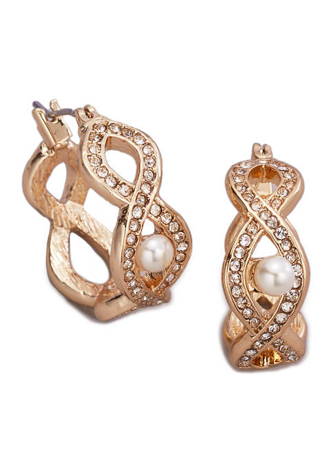 Kim Rogers® Gold Tone Pearl and Crystal Click-It