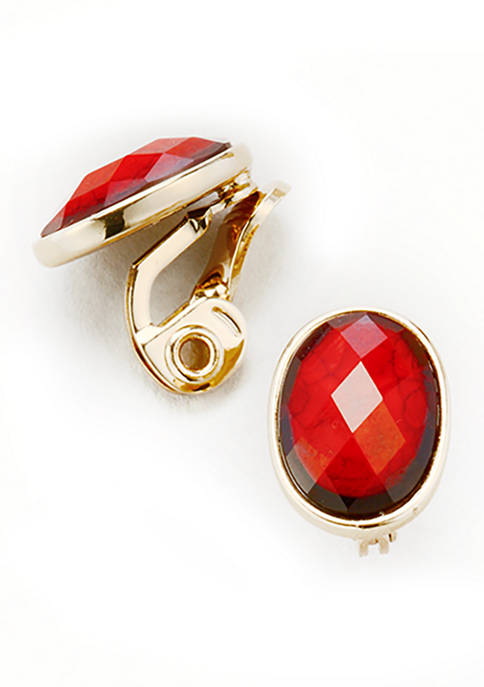 Gold Tone Red Stud EZ Comfort Clip Earrings